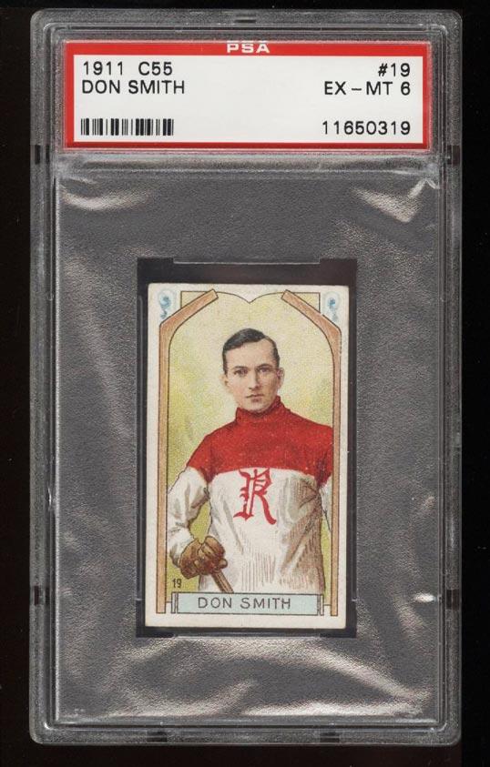 Image of: 1911 C55 Hockey SETBREAK Don Smith #19 PSA 6 EXMT (PWCC)