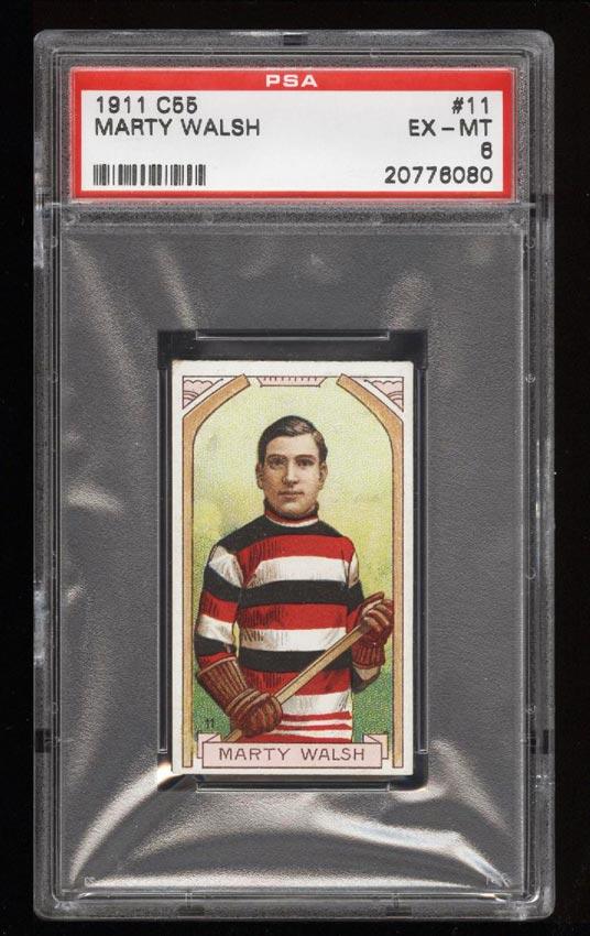 Image of: 1911 C55 Hockey SETBREAK Marty Walsh #11 PSA 6 EXMT (PWCC)