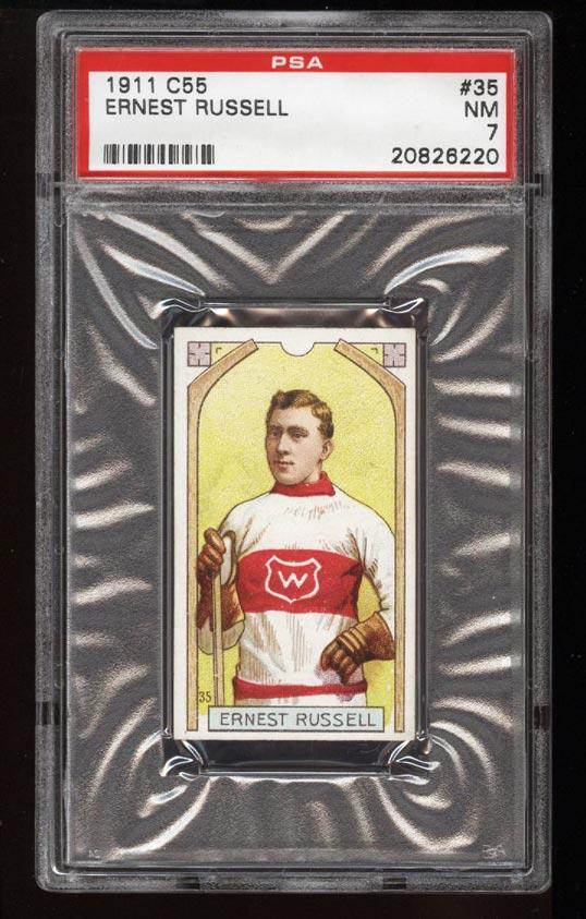Image of: 1911 C55 Hockey SETBREAK Ernest Russell #35 PSA 7 NRMT (PWCC)