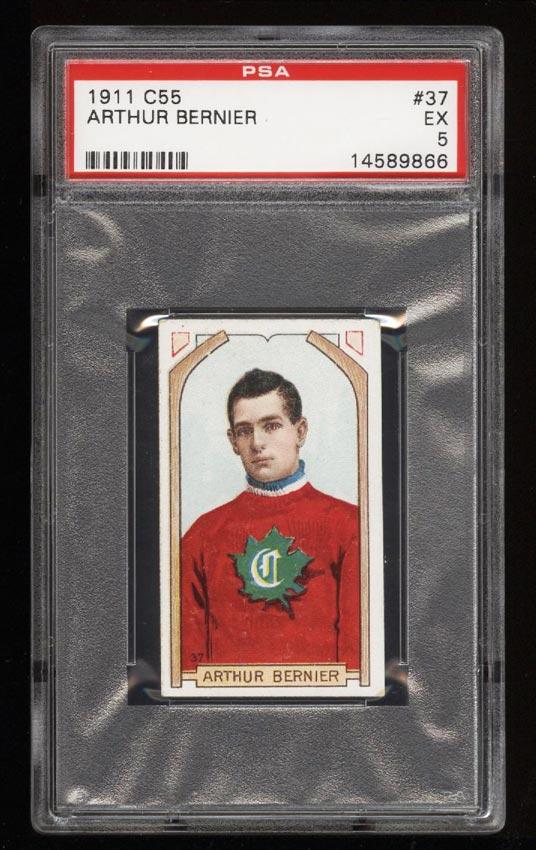 Image of: 1911 C55 Hockey SETBREAK Arthur Bernier #37 PSA 5 EX (PWCC)