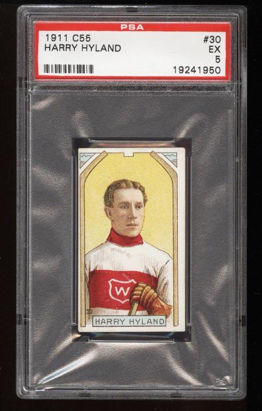 Image of: 1911 C55 Hockey SETBREAK Harry Hyland #30 PSA 5 EX (PWCC)