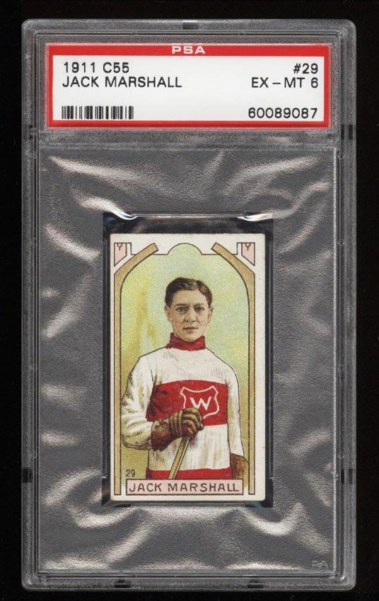 Image of: 1911 C55 Hockey SETBREAK Jack Marshall #29 PSA 6 EXMT (PWCC)