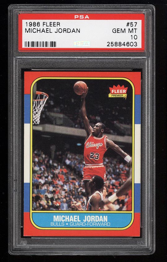 Image of: 1986 Fleer Basketball Michael Jordan ROOKIE RC #57 PSA 10 GEM MINT (PWCC)