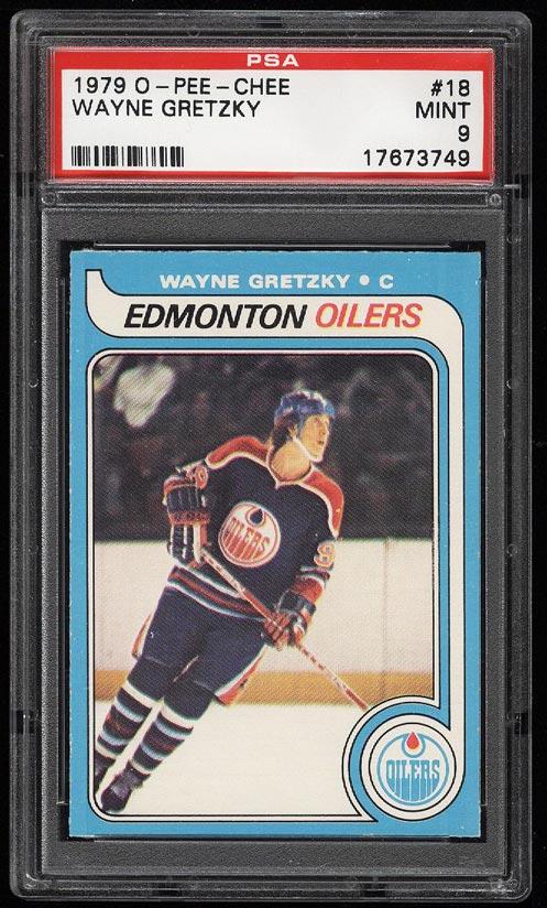 Image of: 1979 O-Pee-Chee Hockey Wayne Gretzky ROOKIE RC #18 PSA 9 MINT (PWCC)
