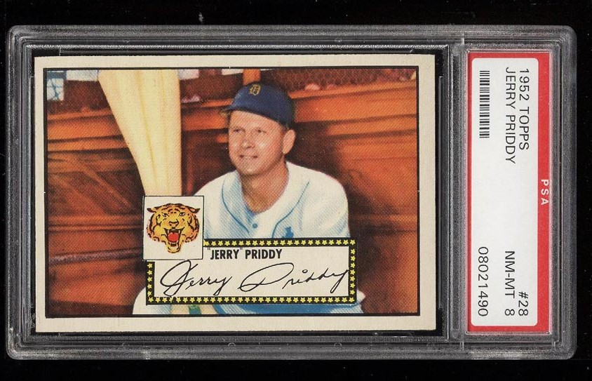 Image of: 1952 Topps SETBREAK Jerry Priddy #28 PSA 8 NM-MT (PWCC)