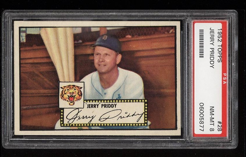 Image of: 1952 Topps SETBREAK Jerry Priddy BLACK BACK #28 PSA 8 NM-MT (PWCC)