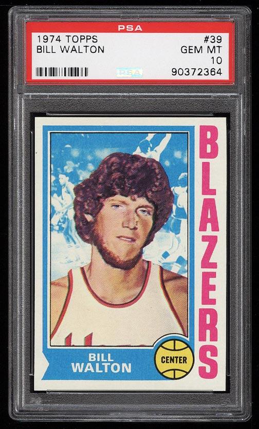 Image of: 1974 Topps Basketball Bill Walton ROOKIE RC #39 PSA 10 GEM MINT (PWCC)