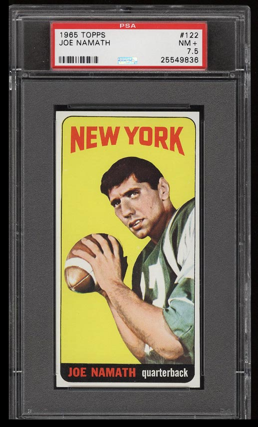 Image of: 1965 Topps Football Joe Namath SP ROOKIE RC #122 PSA 7.5 NRMT+ (PWCC)