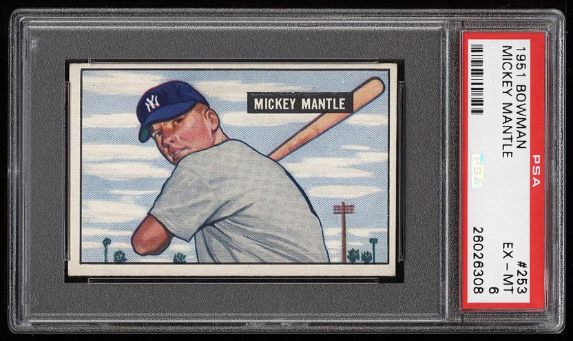 Image of: 1951 Bowman Mickey Mantle ROOKIE RC #253 PSA 6 EXMT (PWCC)