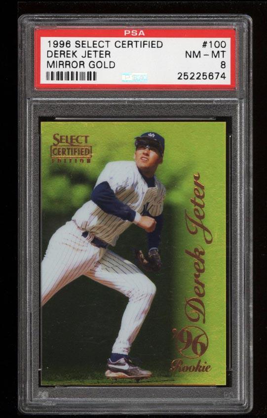 Image of: 1996 Select Certified Mirror Gold Derek Jeter ROOKIE RC #100 PSA 8 NM-MT (PWCC)