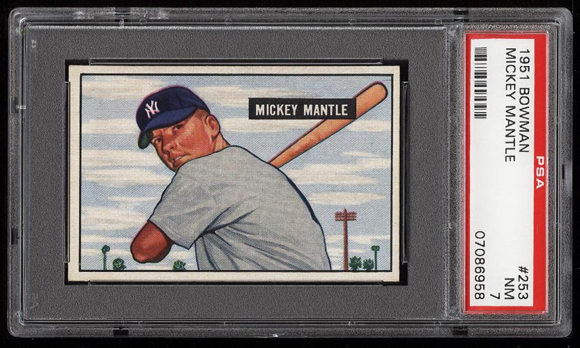 Image of: 1951 Bowman Mickey Mantle ROOKIE RC #253 PSA 7 NRMT (PWCC)