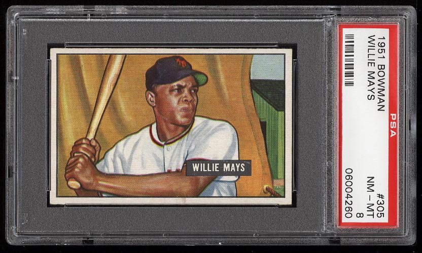 Image of: 1951 Bowman Willie Mays ROOKIE RC #305 PSA 8 NM-MT (PWCC)