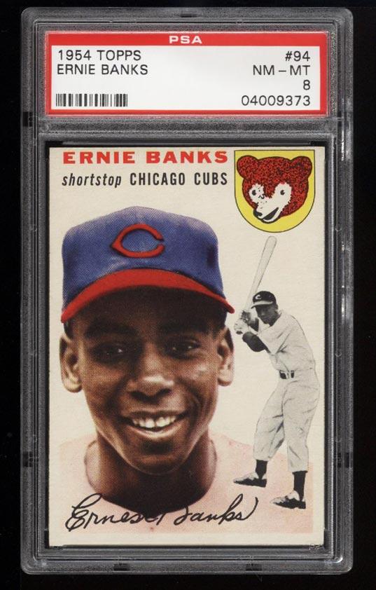 Image of: 1954 Topps Ernie Banks ROOKIE RC #94 PSA 8 NM-MT (PWCC)