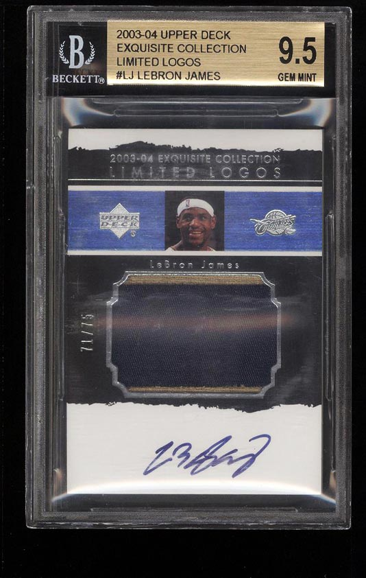 Image of: 2003 Exquisite Collection Limited LeBron James RC AUTO PATCH /75 BGS 9.5 (PWCC)
