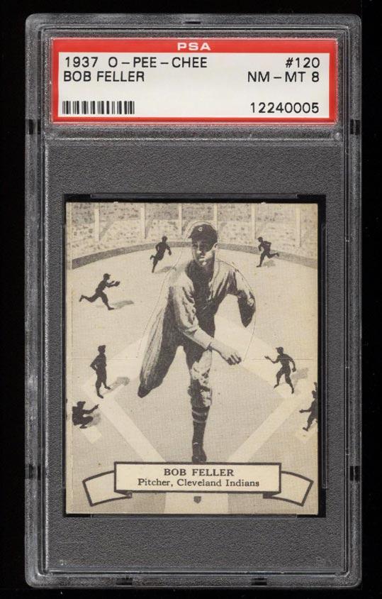 Image of: 1937 O-Pee-Chee Bob Feller ROOKIE RC #120 PSA 8 NM-MT (PWCC)