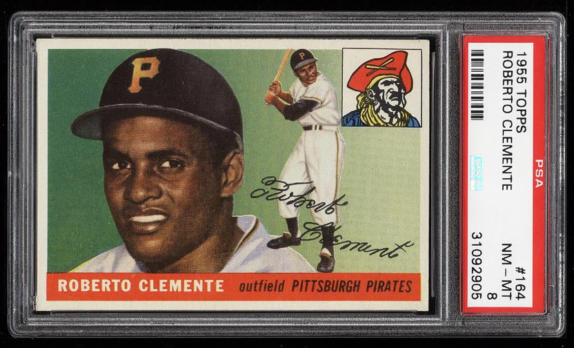 Image of: 1955 Topps Roberto Clemente ROOKIE RC #164 PSA 8 NM-MT (PWCC)