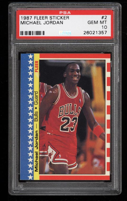 Image of: 1987 Fleer Sticker Michael Jordan #2 PSA 10 GEM MINT (PWCC)
