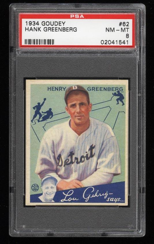 Image of: 1934 Goudey Hank Greenberg #62 PSA 8 NM-MT (PWCC)