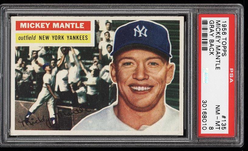 Image of: 1956 Topps SETBREAK Mickey Mantle #135 PSA 8 NM-MT (PWCC-HE)