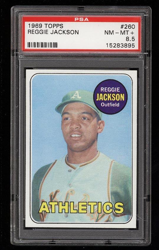 Image of: 1969 Topps Reggie Jackson ROOKIE RC #260 PSA 8.5 NM-MT+ (PWCC)