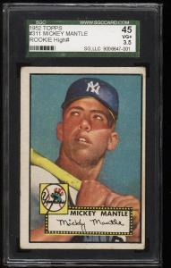 Image of: 1952 Topps Mickey Mantle #311 SGC 3.5/45 VG+ (PWCC)