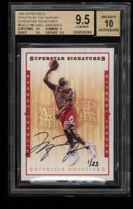 Image of: 1999 UD Athlete Of The Century Superstar Michael Jordan AUTO 1/23 BGS 9.5 (PWCC)