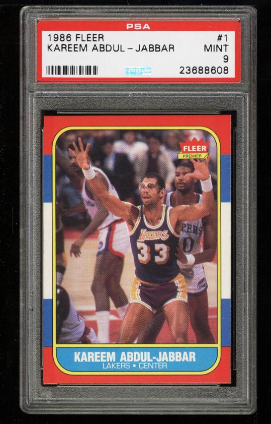 Image of: 1986 Fleer Basketball Kareem Abdul-Jabbar #1 PSA 9 MINT (PWCC)