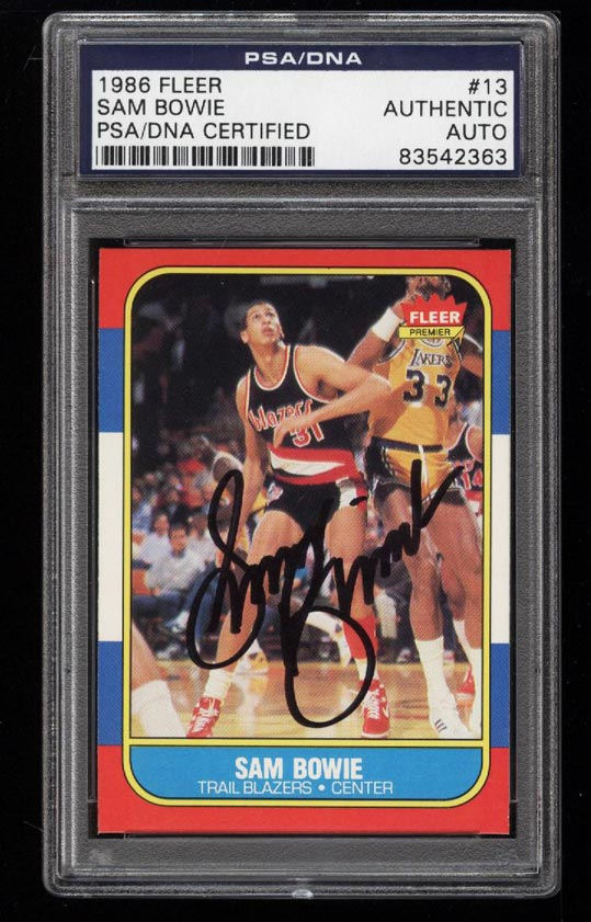 Image of: 1986 Fleer Basketball Sam Bowie AUTO #13 PSA/DNA AUTH (PWCC)