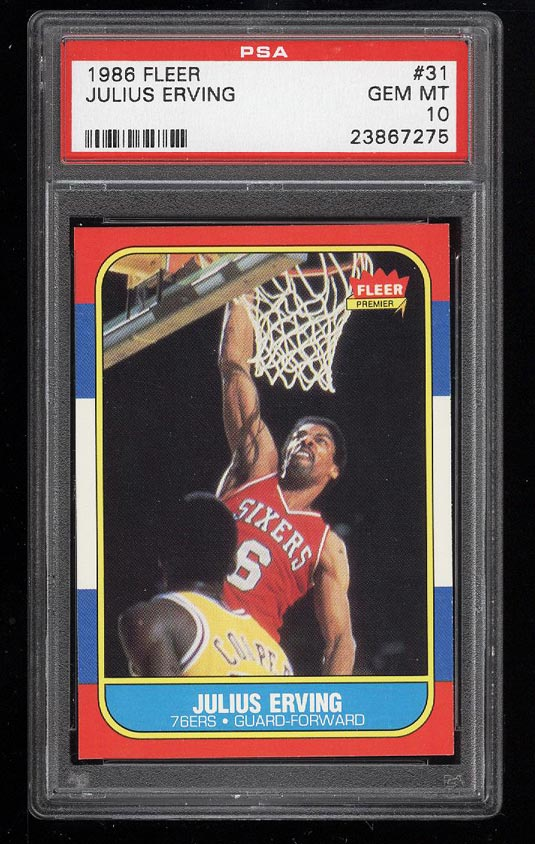 Image of: 1986 Fleer Basketball Julius Erving #31 PSA 10 GEM MINT (PWCC)