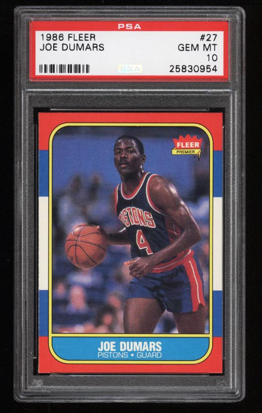 Image of: 1986 Fleer Basketball Joe Dumars ROOKIE RC #27 PSA 10 GEM MINT (PWCC)