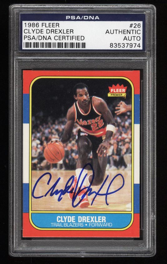 Image of: 1986 Fleer Basketball Clyde Drexler ROOKIE RC AUTO #26 PSA/DNA AUTH (PWCC)