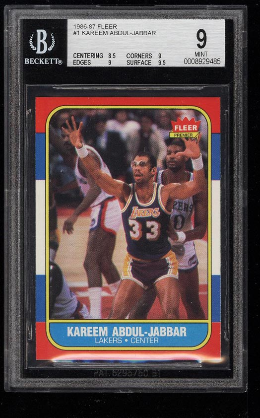 Image of: 1986 Fleer Basketball Kareem Abdul-Jabbar #1 BGS 9 MINT (PWCC)