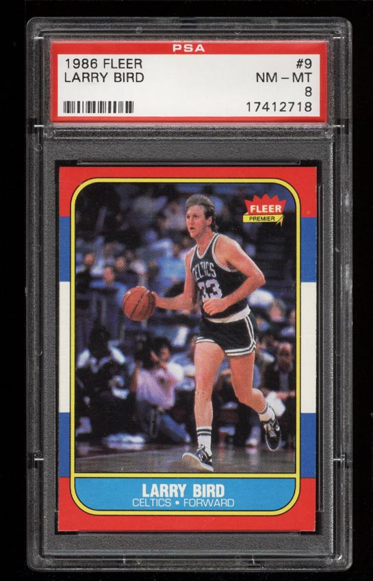 Image of: 1986 Fleer Basketball Larry Bird #9 PSA 8 NM-MT (PWCC)