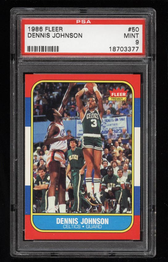 Image of: 1986 Fleer Basketball Dennis Johnson #50 PSA 9 MINT (PWCC)