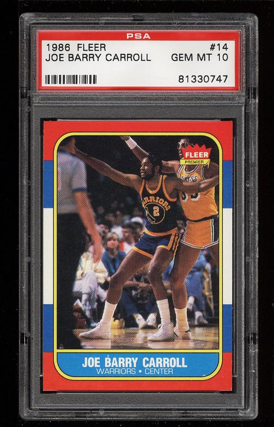 Image of: 1986 Fleer Basketball Joe Barry Carroll #14 PSA 10 GEM MINT (PWCC)