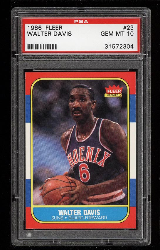 Image of: 1986 Fleer Basketball Walter Davis #23 PSA 10 GEM MINT (PWCC)
