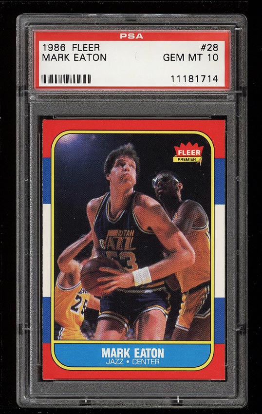 Image of: 1986 Fleer Basketball Mark Eaton #28 PSA 10 GEM MINT (PWCC)