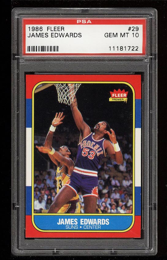 Image of: 1986 Fleer Basketball James Edwards #29 PSA 10 GEM MINT (PWCC)