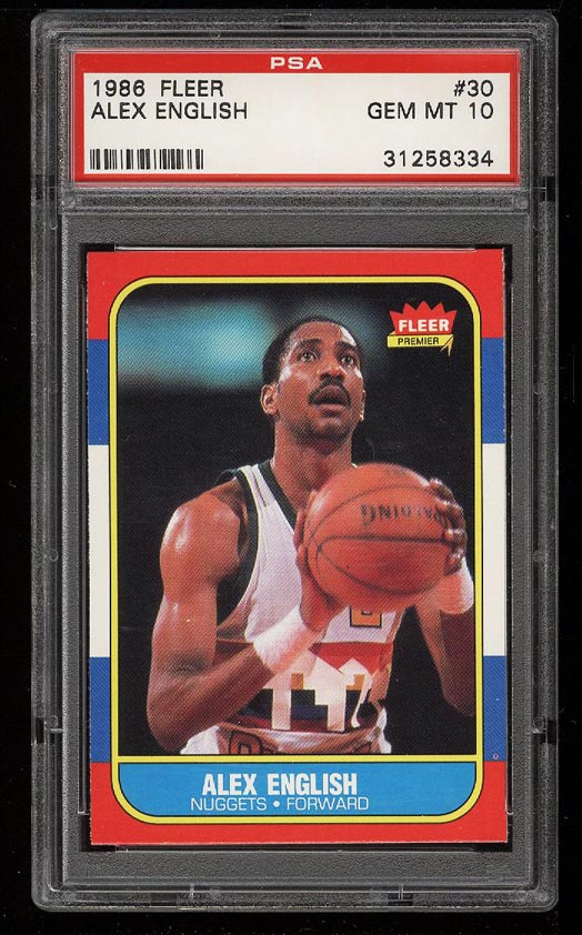 Image of: 1986 Fleer Basketball Alex English #30 PSA 10 GEM MINT (PWCC)
