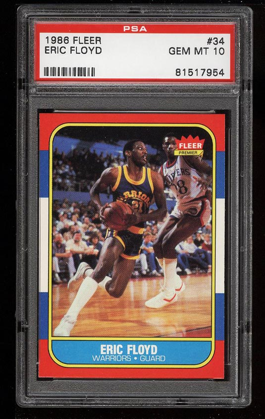 Image of: 1986 Fleer Basketball Eric Floyd #34 PSA 10 GEM MINT (PWCC)