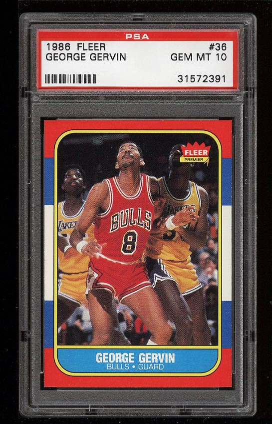 Image of: 1986 Fleer Basketball George Gervin #36 PSA 10 GEM MINT (PWCC)