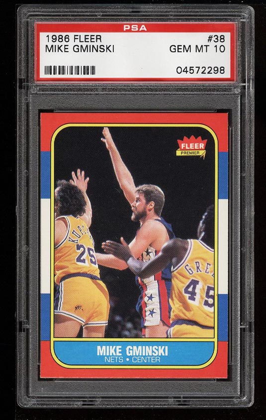 Image of: 1986 Fleer Basketball Mike Gminski #38 PSA 10 GEM MINT (PWCC)