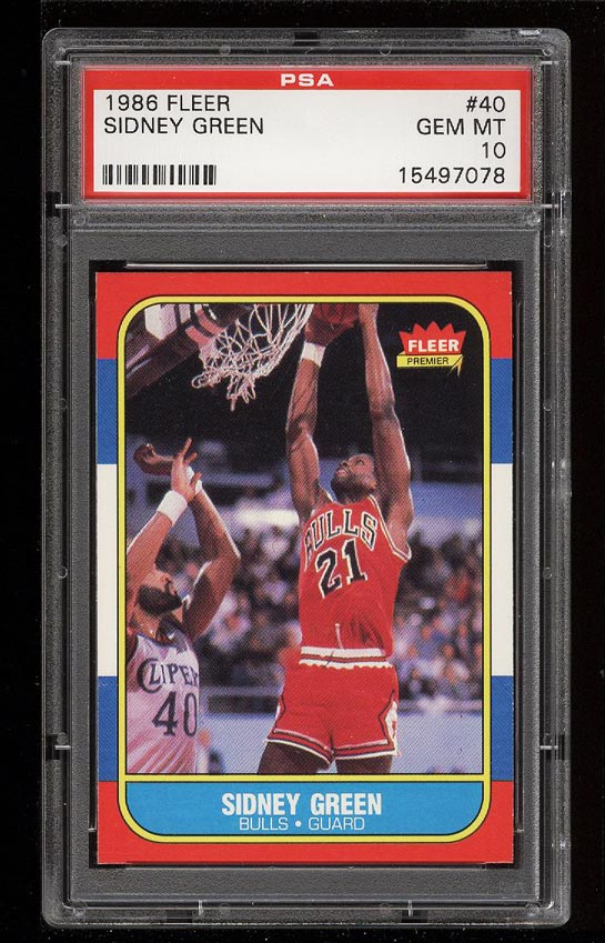 Image of: 1986 Fleer Basketball Sidney Green #40 PSA 10 GEM MINT (PWCC)