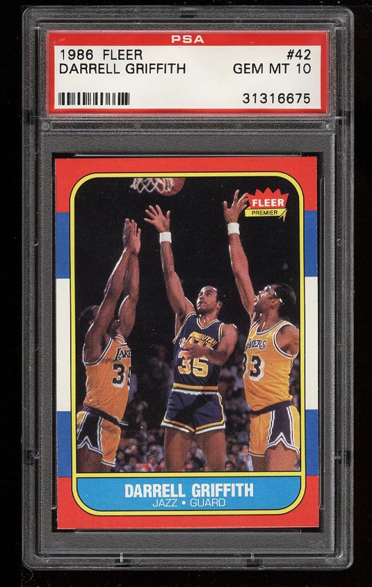 Image of: 1986 Fleer Basketball Darrell Griffith #42 PSA 10 GEM MINT (PWCC)