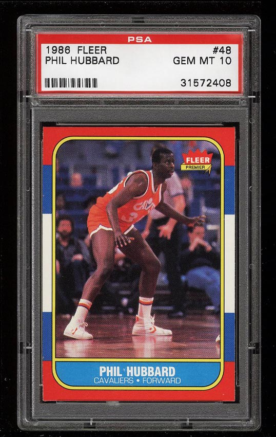 Image of: 1986 Fleer Basketball Phil Hubbard #48 PSA 10 GEM MINT (PWCC)