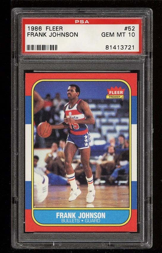Image of: 1986 Fleer Basketball Frank Johnson #52 PSA 10 GEM MINT (PWCC)