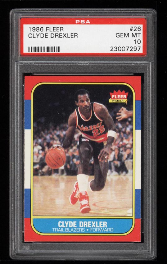 Image of: 1986 Fleer Basketball Clyde Drexler ROOKIE RC #26 PSA 10 GEM MINT (PWCC)