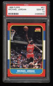 Image of: 1986 Fleer Basketball Michael Jordan ROOKIE RC #57 PSA 10 GEM MT (PWCC)