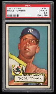 Image of: 1952 Topps Mickey Mantle #311 PSA 2.5 GD+ (PWCC-HE)