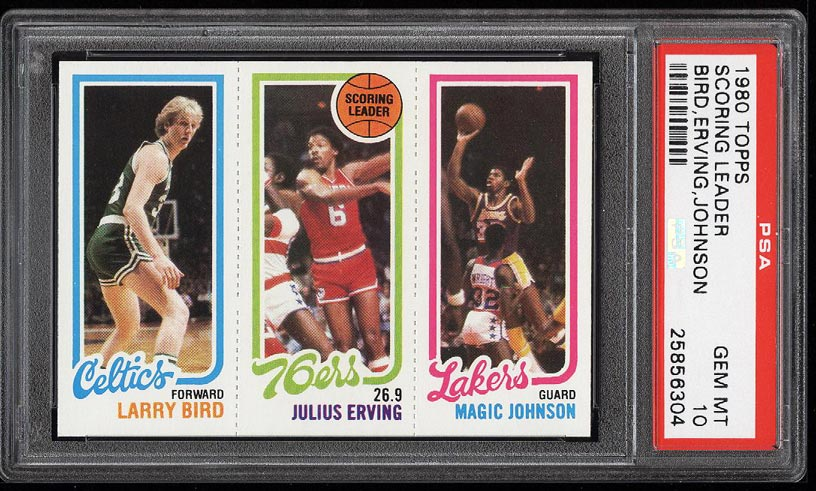 Image of: 1980 Topps Basketball Larry Bird & Magic Johnson ROOKIE RC PSA 10 GEM (PWCC-HE)